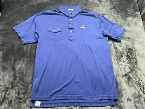 Men Peter Millar Short Sleeve Solid Purple Polo Shirt Size Large Pocket Colonial