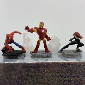 5pc Disney Infinity Marvel 2.0 Figurine Lot Spiderman Iron Man Black Widow &More