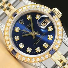 Da Donna Rolex Datejust Diamante Blu Zaffiro 18K Oro Giallo & Orologio in