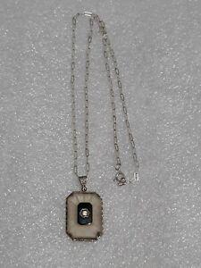 ANTIQUE STERLING SILVER PAPERCLIP CHAIN & VINTAGE CAMPHOR GLASS NECKLACE PENDANT
