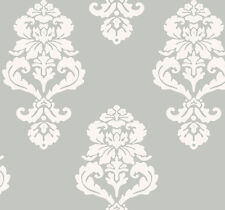 York Tres Chic Graphic White on Silver  Damask Wallpaper  BL0398 - Double Roll