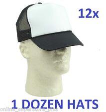 NEW 1 DOZEN Poly-Foam Trucker Caps Adjustable Black and White Mesh Hats BULK LOT
