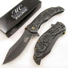 NEW! Fantasy Dragon Scale Blade Stonewash Ash Spring-Assisted Folding Knife