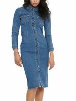 New Womens Ex Warehouse Blue Denim Front Stud Fastening Cotton Dress Size 8-12