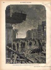Paris rue Saint-Roch à l'Avenue de l'Opéra Nuit du Bal des Lyonnais GRAVURE 1877