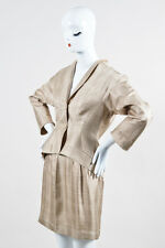 VINTAGE Thierry Mugler Cream Brown Silk Plaid Jacket and Skirt Set SZ 40