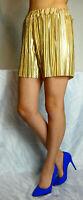 Hohe Taille Hotpants Hosenrock Weites Bein Shorts Bermudas Plisee Glocken Gold