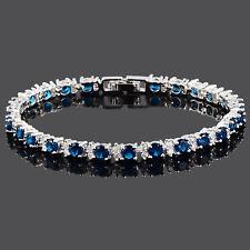 Xmas Women Hot Sale Rhinestone Round Cut Blue Sapphire Tennis Fashion Bracelet
