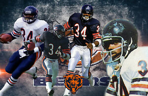 Chicago Bears Lithograph print of Walter Payton 17 x 11