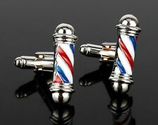 BARBERSHOP POLE CUFFLINKS Pair Novelty Shirt Suit Hairdresser Silver Gift Enamel