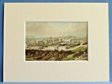 EDINBURGH NEW TOWN FROM THE CASTLE SUPERB QUALITY ANTIQUE MOUNTED CHROMO PRINT