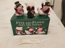 Fitz And Floyd ~ Holly Jolly Snowman Tumblers ~ Set of 3 ~ In Box