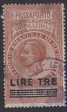 ITALIAN REVENUES : 1930 Passport Authentication  3L on 2L  BFT20 used