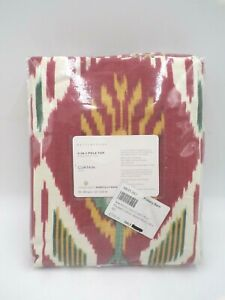 "Pottery Barn Ikat Print Cotton Lined Drape Panel Warm Multi 50x84"" #B3"