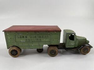 Tootsietoy #0803 Green & Red Mack Long Distance Hauling Truck Mfg 1933 - 1936