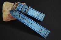 MA WATCH STRAP 22 20 18 MM GENUINE PYTHON SNAKE SKIN NAVY BLUE HANDMADE BAND
