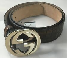 GUCCI BELT BROWN CROCODILE SKIN POLISHED BRASS LOGO GG BUCKLED BELT 38 95 NEW
