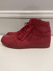 Nike Air Jordan 1 Retro High Top Red Suede Gym Red Men's Sneaker Size 16