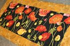 Gold Poppy Flowers 25 x 12 Handmade Quilted Table Runner