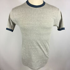 Vintage 70s 80s Plain Blank Grey Ringer Sears Mens Store T Shirt 50 50 Body Wear