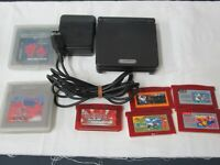 L311 Nintendo Gameboy Advance SP console Onyx Black &  game Adapter Japan GBA