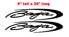"""PAIR OF 6"""" X 28"""" BAJA BOAT HULL DECALS MARINE GRADE. YOUR COLOR CHOICE."""