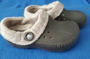 Crocs Blitzen Polar Fleece Lined Brown Clogs Women's Size 8/Men's Size 6