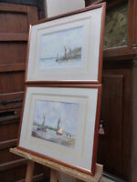PAIR OF WATERCOLOUR SEASCAPES ARTIST STANLEY BENNETT FREE SHIPPING TO ENGLAND