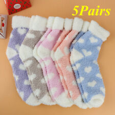 5 Pairs Ladies Heart Warm Cute Fluffy Fleece Cosy Ankle Thermal Lounge Bed Socks