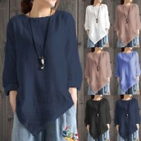 Fashion Women Vintage Cotton Linen Long Sleeve Shirt Loose Blouse Tunic Tee Tops
