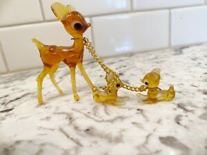 Vintage Hand Blown Glass Deer With Babies On Chains Bambi Animal Figurine