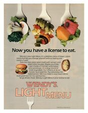 1985 WENDY'S Light Menu - Now You Have A License To Eat vintage print ad