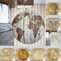 Retro Nautical Map Non-slip Round Soft Area Rug Floor Carpet Door Mat Home Decor