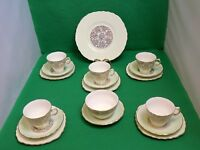 Royal Vale Harlequin Gold / Mint Tea Set