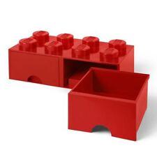 brique lego Boite de rangement 8 avec 2 Tiroirs Empilable blocs enfants - Rouge