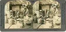India ~ KASHMIR ~ Shelling Rice Mortar & Pestle Stereoview 27409 T524 19548 fx
