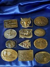 Vintage Belt Buckles Brass Metal Belt Buckle Lot of 12 Siskiyou Arroyo & MORE!