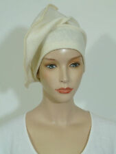Advanced style lagenlook chic winter white/ cream boiled wool slouchy beanie hat
