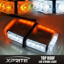24 LED Roof Top Emergency Hazard Warning Mini Strobe Light Bar White Amber 12W