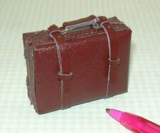 Miniature Falcon MEDIUM Brown Suitcase w/Working Buckles, Opens! DOLLHOUSE 1:12