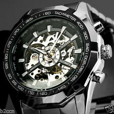 New Men's Silver Black Stainless Steel Skeleton Automatic Mechanical Wrist Watch