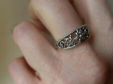 SOLID OXIDISED STERLING SILVER RING FLOWER SHAPED, HAND MADE BY ME. SIZE N1/2-O