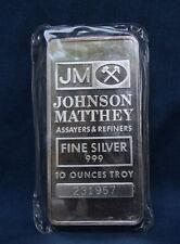 JOHNSON MATTHEY 10 OZ. SILVER BAR SEALED IN ORIGINAL MINT PACKAGING