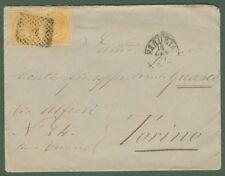 REGNO. Lettera del 14.1.1877 affrancata con coppia cent. 10 giallo ocra