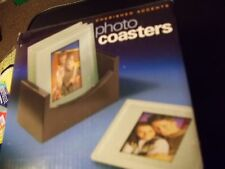 CHERISHED ACCENTS PHOTO COASTERS SET OF 4 W/ HOLDER PHOTO HOLDERS DRINK COASTERS