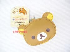 San-X Rilakkuma Brown Relax Bear Head Shaped Coin Case Bag Ornament w/ Key Chain