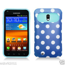 Sprint Samsung Galaxy S2 4G D710 Hybrid Case Skin Pastel Cover Blue Whtie Dots