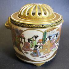Very Fine Antique Japanese Signed Satsuma Lidded & Pierced Koro  c. 1890  vase