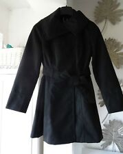 Womens Black coat wrap collar belted size 10 - brand new