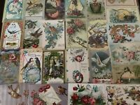 Pretty ~Lot of 25 Antique Greetings Postcards with *BIRDS~Bird-in sleeves-b404